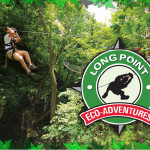 Long Point Eco Adventures logo and someone zip lining
