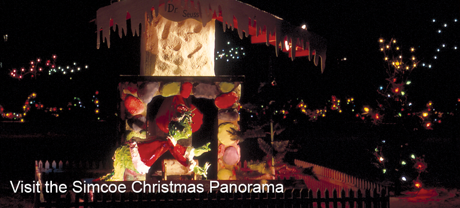Visit Wellington Park to see the Simcoe Christmas Panorama.