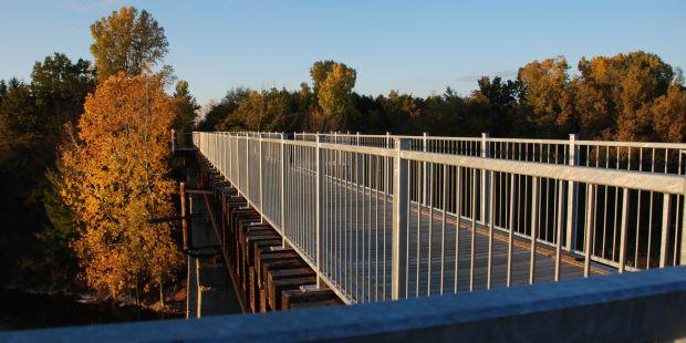 Black Bridge in fall at sunset