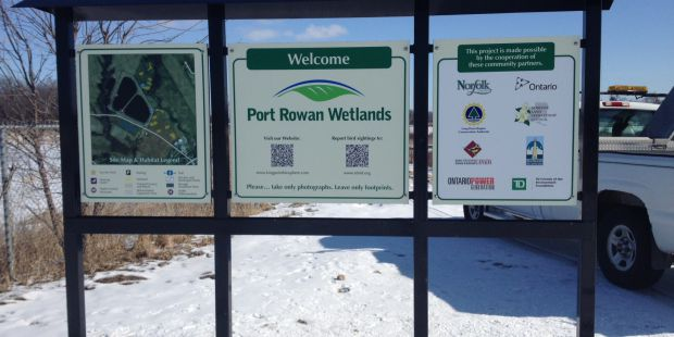 Sign welcoming you to the Port Rowan wetlands.