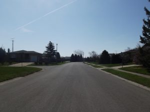 Looking down the middle of a Port Dover suburb street.