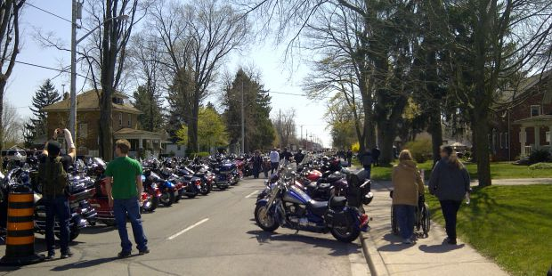 Bikes line the street at Friday 13 in Port Dover