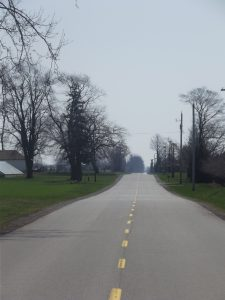 Open road lined with trees and farm house ahead.