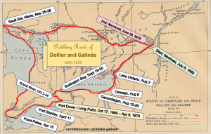 Dollier Galinee paddling route