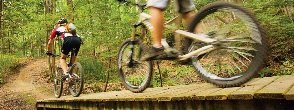 Two people bike across a trail bridge in the woods.