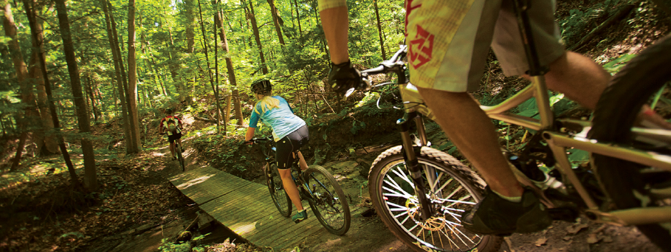 Three people cross a bridge on a wooded trail.