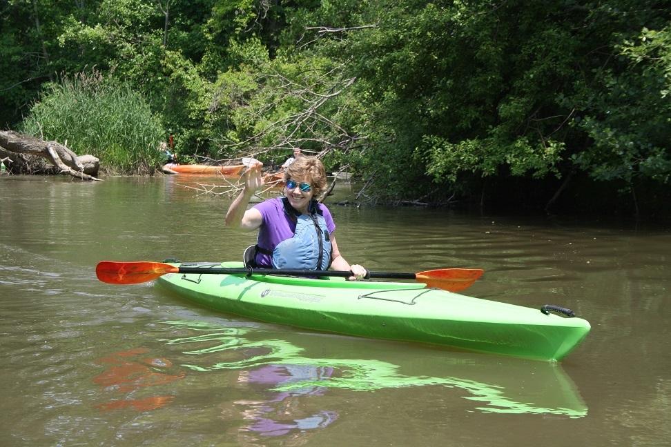 Leigh McAdam paddling Big Creek